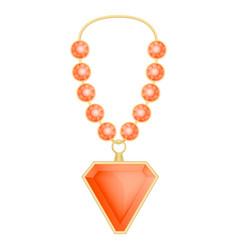 garnet necklace mockup realistic style vector image
