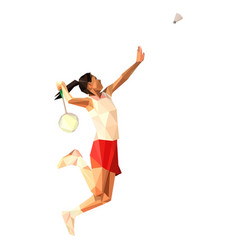 Geometric polygonal professional badminton player vector