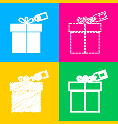 gift sign with tag four styles of icon on four vector image