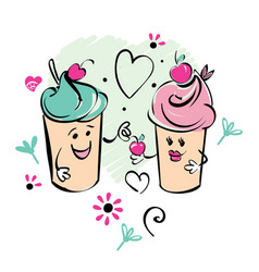 Girl and boy ice cream character and cherry heart vector