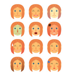 girl or woman different face emotions collection vector image