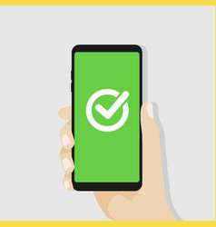 green checkmark on smartphone screen vector image