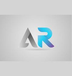 Grey blue alphabet letter ar a r logo icon design vector