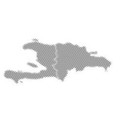 Halftone gray haiti and dominican republic map vector