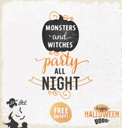 Halloween Party Design Elements and Badges vector image