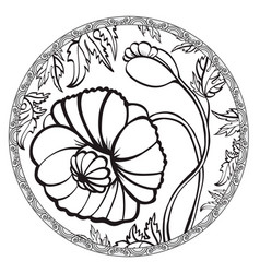 Hand drawn poppy flower meditative vector