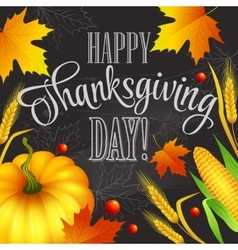 Hand drawn thanksgiving greeting card with leaves vector