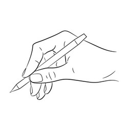 Hand holding a pen on white background vector