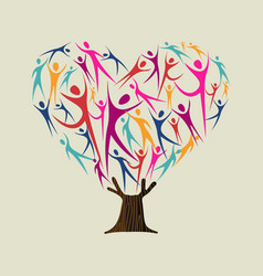 Heart shape tree made of people for love concept vector