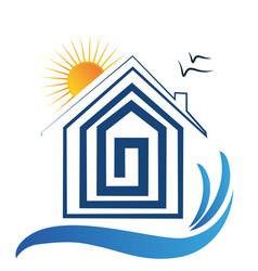 house on the beach sun and birds logo vector image