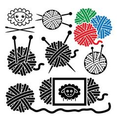 icons of yarn balls vector image