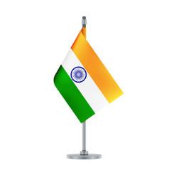 Indian flag hanging on the metallic pole vector