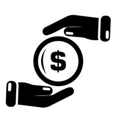 insurance money icon simple black style vector image
