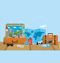 Journey briefcase with global map destination vector