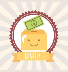 kawaii cardboard box with money banknote donate vector image