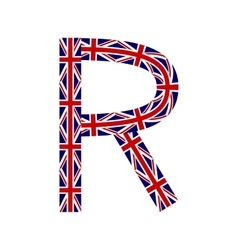 Letter R made from United Kingdom flags vector image