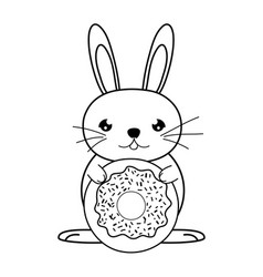 Line male rabbit animal with sweet donut vector