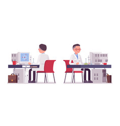 Male scientist working at the desk vector