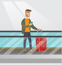 Man using smartphone on escalator at the airport vector