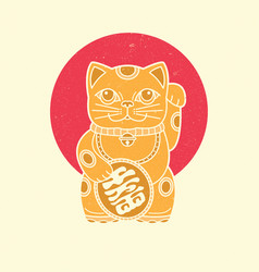 Maneki neko icon japan lucky charm vector