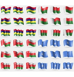 Mauritius Madagascar Oman Somalia Set of 36 flags vector