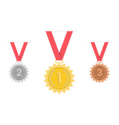 Medal- gold silver bronze 1st 2nd and 3rd place vector