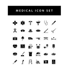 medical dental icon set with black color glyph vector image