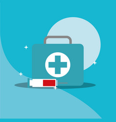 medical kit first aid emergency syringe supply vector image