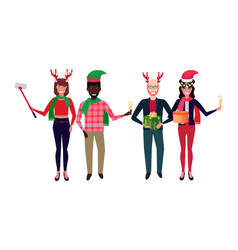 mix race people wearing different costumes vector image