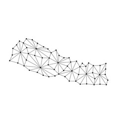 Nepal map of polygonal mosaic lines network rays vector