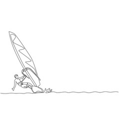 one single line drawing young sporty man play vector image