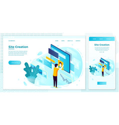 online web set site creation process vector image