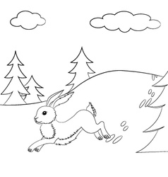 Outlined hare running in the forest vector