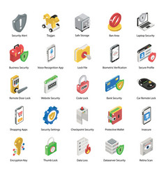 Pack protection isometric icons vector