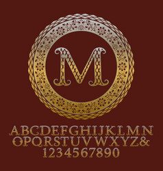 Patterned gold letters and numbers with monogram vector