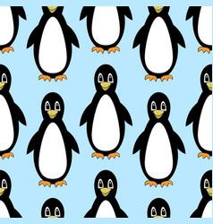 penguins cute cartoon on seamless light blue vector image