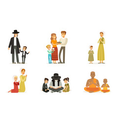 people different religions collection happy vector image