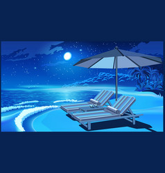 Picturesque beach umbrella and deck chairs vector