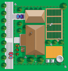 plan a private house with a courtyard and garden vector image