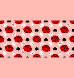 Playing cards seamless pattern red rose on a pink vector
