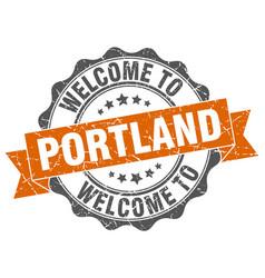 portland round ribbon seal vector image
