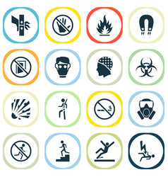 Protection icons set with no smoking not running vector