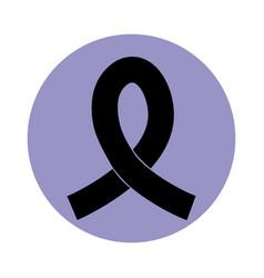Ribbon awareness campaign pictograph block vector