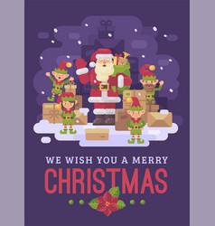 santa claus delivery service santa with a team of vector image