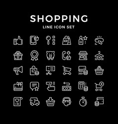 set line icons of shopping vector image