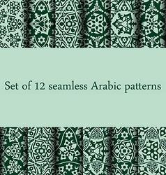 Set of 12 arabic patterns vector