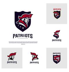 set of patriots logo design head patriots logo vector image