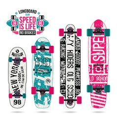 Set of prints on longboard vector image
