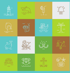 set of sea travel icons vector image