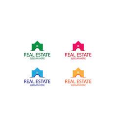 Set real estate and building logo design vector